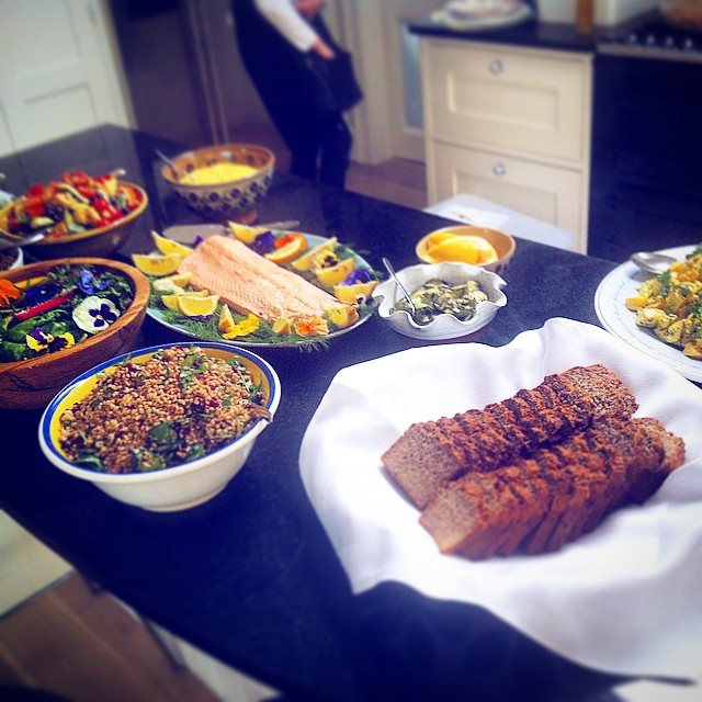 Buffet with whole salmon by Appetite Catering