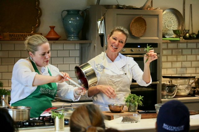 Rachel Allen Demonstrating at Ballymaloe Cookery School