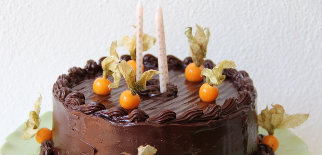 French Chocolate Cake decorated with Cape Gooseberries