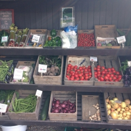 Lots of delicious seasonal organic produce from the gardens at Ballymaloe Cookery School shop
