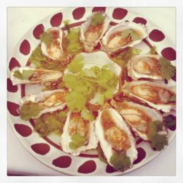 Oysters w/ Asian dressing & Sea Lettuce