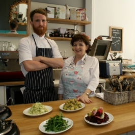 Ballymaloe Graduate - Kay Burke & her son Kevin at The Sticky Bun Cafe in Clonakilty